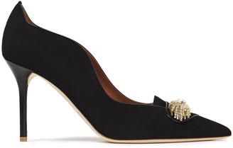 Malone Souliers Alessia 85 Crystal-embellished Suede Pumps