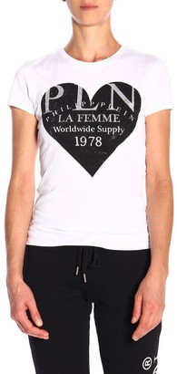 Philipp Plein Short-sleeved T-shirt With Maxi Logo Print And Rhinestones