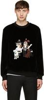 Dolce & Gabbana Black Velvet Designer Family Pullover