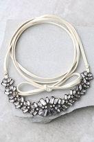 LuLu*s Transcendental Cream Rhinestone Wrap Necklace