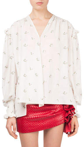 Magda Butrym Granelli Small Floral-Print Silk Tunic Blouse