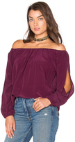 Chaser Open Sleeve Shirttail Boho Silk Top