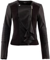 Morgan Leather-look ruffle-front jacket