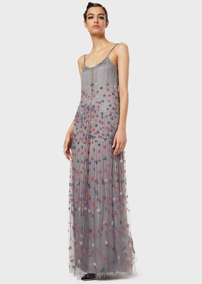 Giorgio Armani Long Embroidered Dress With Floral Motif