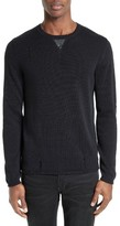 The Kooples Men's Faux Leather Slim Cotton Blend Crewneck