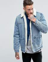 Asos Fully Fleece Lined Denim Jacket in Blue Wash