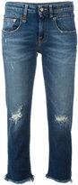 R 13 shredded trim cropped jeans - women - Cotton/Spandex/Elastane - 27