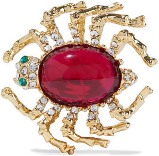 Kenneth Jay Lane 22-karat Gold-plated, Stone And Crystal Brooch