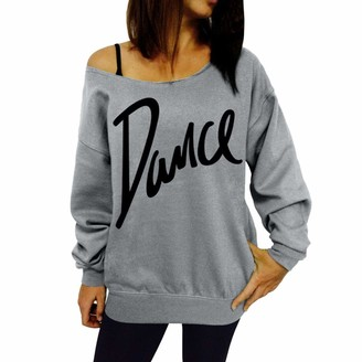 TIMEMEAN Women Autumn Warm New Casual Daily Tops Women Loose Slash Neck Sweatshirt Ladies Casual Letter Dance Pullovers Tops Gray