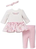 Little Me Girls' Blossoms Dress, Leggings & Headband Set - Baby