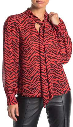 Jealous Tomato Tie Neck Long Sleeve Tiger Stripe Print Woven Blouse
