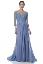 Terani Couture Crystal Beaded Quarter Sleeve Illusion Long Gown 1611M0642A