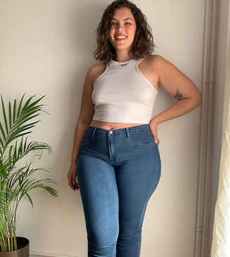 Only Curve high waisted skinny jean in mid blue wash