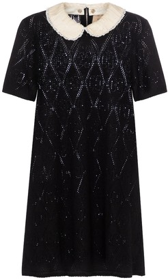 Gucci Sequined pointelle-knit wool minidress