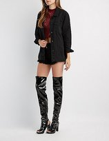 Charlotte Russe Bamboo Peep Toe Thigh-High Boots
