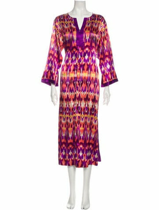 Oscar de la Renta Printed Long Dress Purple