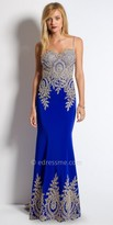 Camille La Vie Embroidered Jersey Trumpet Evening Dress