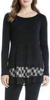 Karen Kane Women's Plaid & Lace Hem Knit Top
