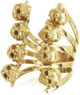 Bernard Delettrez Golden Skulls Bronze Ring