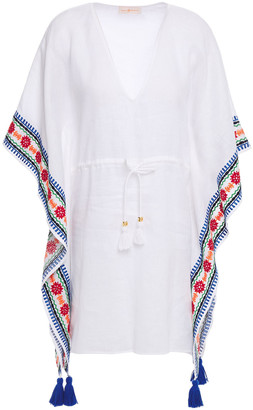 Tory Burch Tasseled Embroidered Linen Coverup