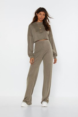 Nasty Gal Womens Back to Basics Crop Top and Trousers Lounge Set - Blue - 4