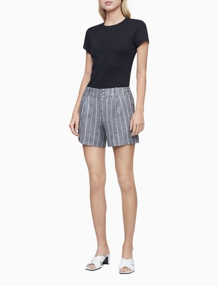 Calvin Klein Linen Blend Striped Pleated Shorts