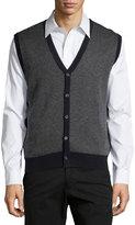 Neiman Marcus Textured V-Neck Button-Front Sweater Vest, Dark Midnight