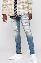 PacSun Stacked Skinny Vertical Stretch Zip Destroy Indigo Jeans
