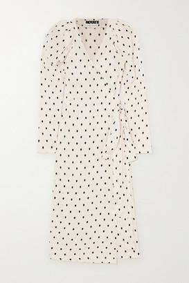 Rotate by Birger Christensen Bridget Polka-dot Satin-jacquard Wrap Midi Dress - White