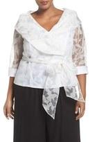Alex Evenings Plus Size Women's Sheer Sleeve Organza Tie Waist Blouse