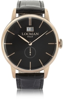 Locman 1960 Rose Gold PVD Stainless Steel Men's Watch w/Black Croco Embossed Leather Strap