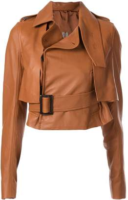 Rick Owens short trench leather jacket