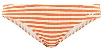 Solid & Striped The Elle Striped Ribbed Bikini Briefs - Red Stripe