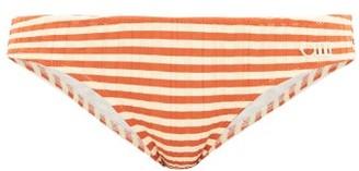 Solid & Striped The Elle Striped Ribbed Bikini Briefs - Womens - Red Stripe