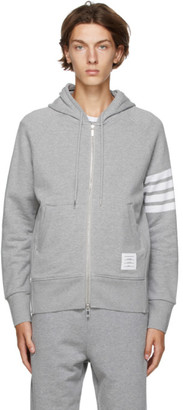 Thom Browne Grey Loopback Engineered 4-Bar Hoodie