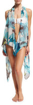 Carmen Marc Valvo Peony-Printed Open-Front Coverup, Peacock