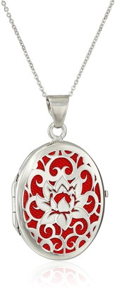 Amazon Collection Italian Sterling Silver and Red Lotus Flower Locket Necklace 18""