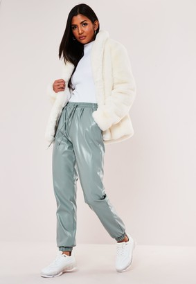 Missguided Petite Green Faux Leather Joggers