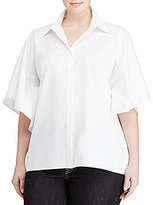 Lauren Ralph Lauren Plus Flutter-Sleeve Cotton Shirt