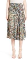 Victoria Beckham Women's Marble Print Sable Godet Midi Skirt
