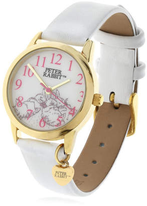 Beatrix Potter Children Sleeping Bunnies Gold Steel Case and White Leather Watch 28mm