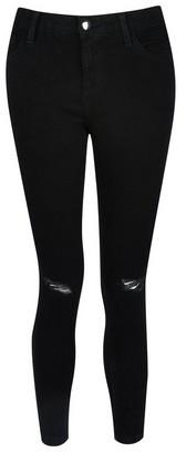 Dorothy Perkins Womens Petite Black 'Darcy' Ripped Skinny Ankle Grazer Jeans, Black