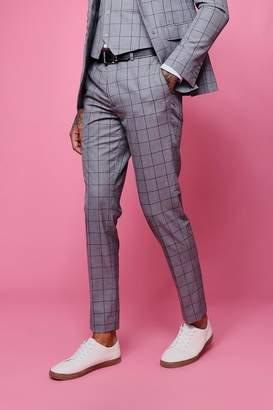 boohoo Window Pane Check Skinny Fit Trouser