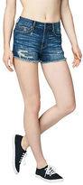 Aeropostale Womens High-Waisted Dark Wash Denim Cutoff Midi Shorts Blue