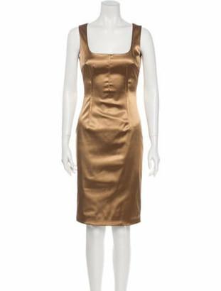 Dolce & Gabbana Square Neckline Knee-Length Dress Gold