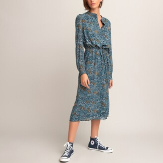 La Redoute Collections Recycled Midi Shirt Dress in Floral Print with Long Sleeves