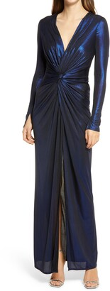 Katie May In a Mood Plunging Long Sleeve Metallic Gown