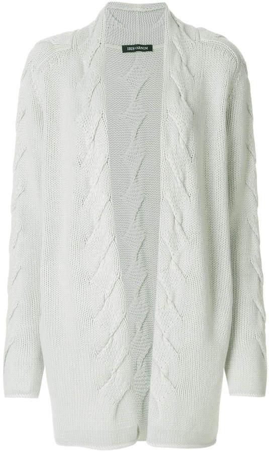 Iris von Arnim twist knit open front cardigan
