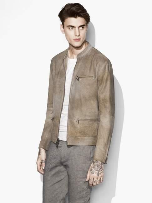 John Varvatos Textured Leather Café Racer Jacket