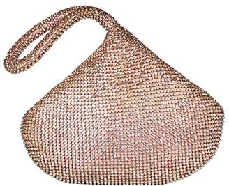 Jessica McClintock Staci Rhinestone Mesh Pouch Wristlet (Iridescent Pink) Wristlet Handbags